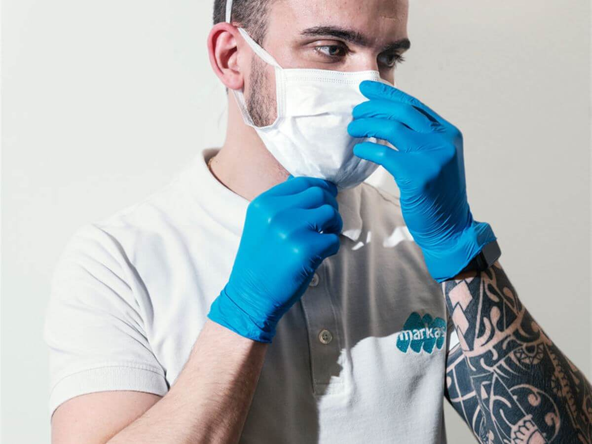 Marco Scalvini, employee of the cleaning service of Markas at the Papa Giovanni XXIII hospital in Bergamo